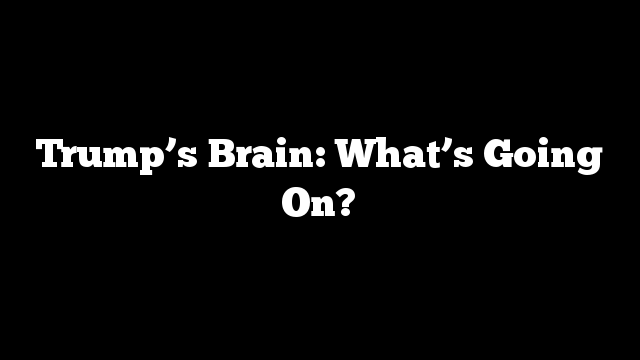 Trump's Brain: What's Going On?